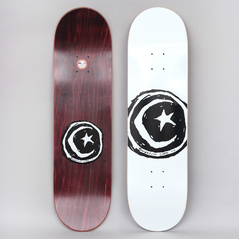 Foundation 8.5 Star And Moon Skateboard Deck White