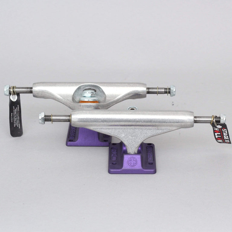 Independent 144 Stage 11 Standard Hollow Skateboard Trucks Silver / Ano Purple
