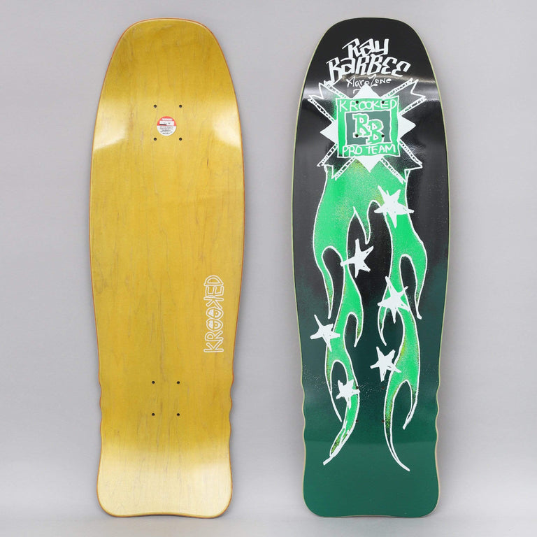 Krooked 10 Ray Barbee Flames Skateboard Deck Black / Green