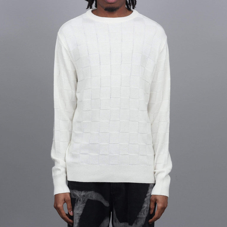 Pop Trading Check Panel Knit Crew Off White