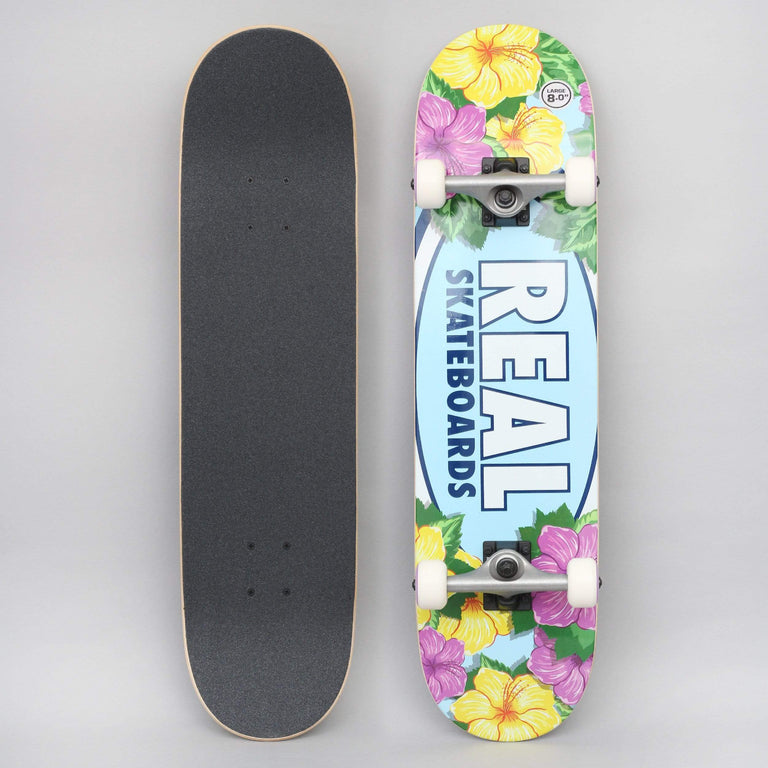 Real 8 Oval Blossoms Complete Skateboard Blue