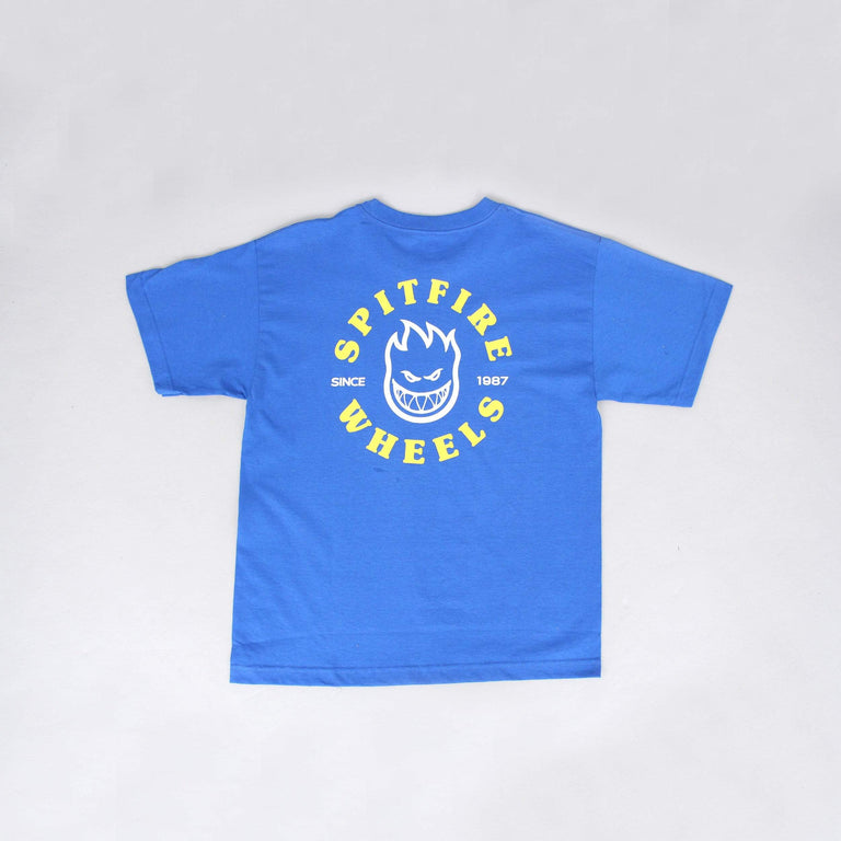 Spitfire Bighead Classic Youth T-Shirt Royal / White / Yellow Prints