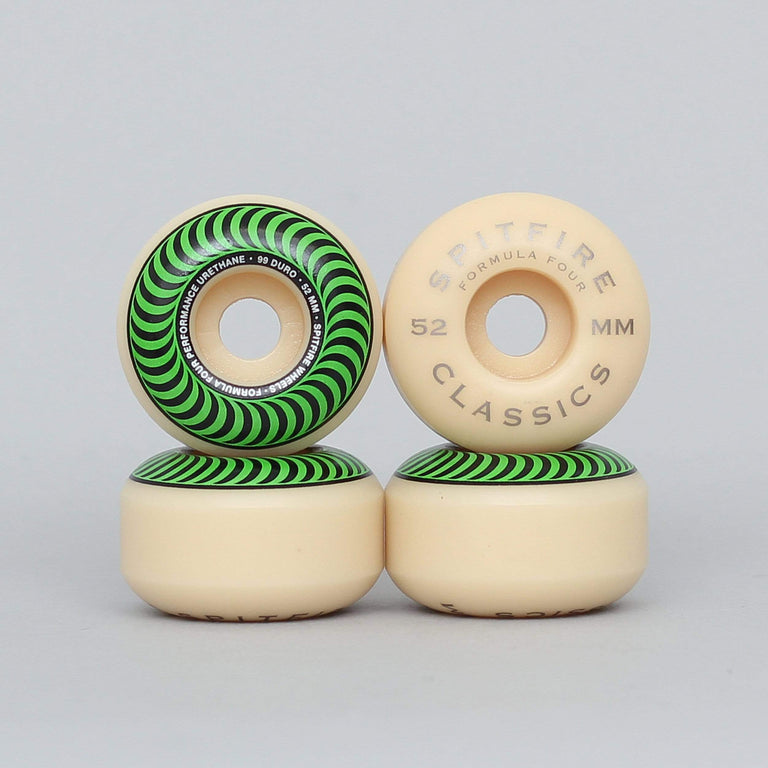 Spitfire 52mm 99DU Formula Four Classics Skateboard Wheels Natural / Green