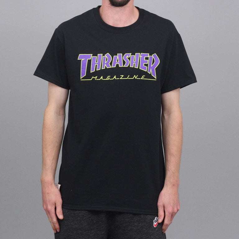 Thrasher Outlined T-Shirt Black / Purple