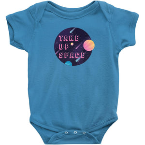 Take Up Space Onesie-Center Front-Cobalt-NB-AllGo