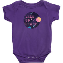 Load image into Gallery viewer, Take Up Space Onesie-Center Front-Purple-NB-AllGo