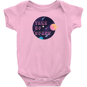 Take Up Space Onesie-Center Front-Pink-NB-AllGo