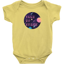 Load image into Gallery viewer, Take Up Space Onesie-Center Front-Yellow-NB-AllGo