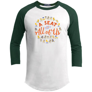A Seat For All Of Us Classic Fit Raglan 3/4 Sleeve T-Shirt-T-Shirts-White/Forest-X-Small-AllGo