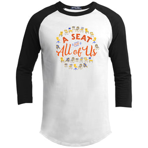 A Seat For All Of Us Classic Fit Raglan 3/4 Sleeve T-Shirt-T-Shirts-White/Black-X-Small-AllGo