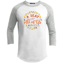 Load image into Gallery viewer, A Seat For All Of Us Classic Fit Raglan 3/4 Sleeve T-Shirt-T-Shirts-AllGo
