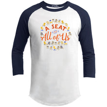 Load image into Gallery viewer, A Seat For All Of Us Classic Fit Raglan 3/4 Sleeve T-Shirt-T-Shirts-White/Navy-X-Small-AllGo