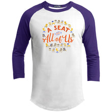 Load image into Gallery viewer, A Seat For All Of Us Classic Fit Raglan 3/4 Sleeve T-Shirt-T-Shirts-White/Purple-X-Small-AllGo