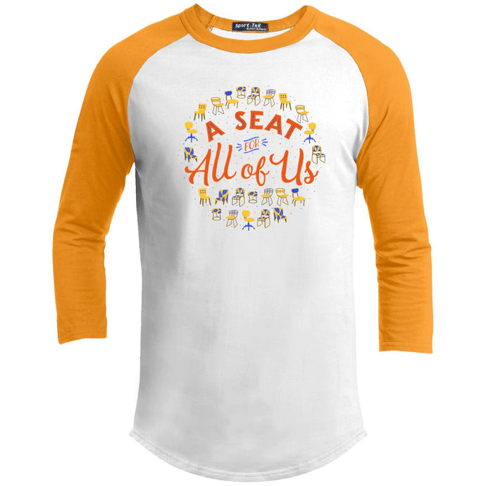 A Seat For All Of Us Classic Fit Raglan 3/4 Sleeve T-Shirt-T-Shirts-White/Gold-X-Small-AllGo