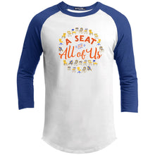 Load image into Gallery viewer, A Seat For All Of Us Classic Fit Raglan 3/4 Sleeve T-Shirt-T-Shirts-White/Royal-X-Small-AllGo