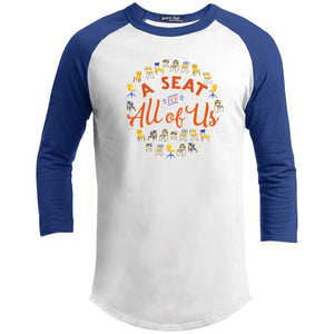 A Seat For All Of Us Classic Fit Raglan 3/4 Sleeve T-Shirt-T-Shirts-White/Royal-X-Small-AllGo