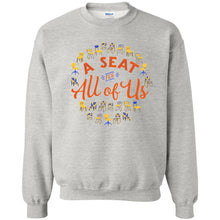 Load image into Gallery viewer, A Seat For All Of Us Classic Fit Crewneck Sweatshirt in Ash from AllGo's merch store featuring plus size statement apparel and more