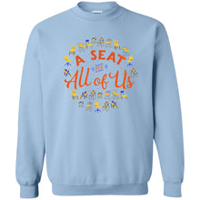 Load image into Gallery viewer, A Seat For All Of Us Classic Fit Crewneck Sweatshirt in Light Blue from AllGo's merch store featuring plus size statement apparel and more