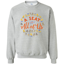 Load image into Gallery viewer, A Seat For All Of Us Classic Fit Crewneck Sweatshirt in Sport Grey from AllGo's merch store featuring plus size statement apparel and more