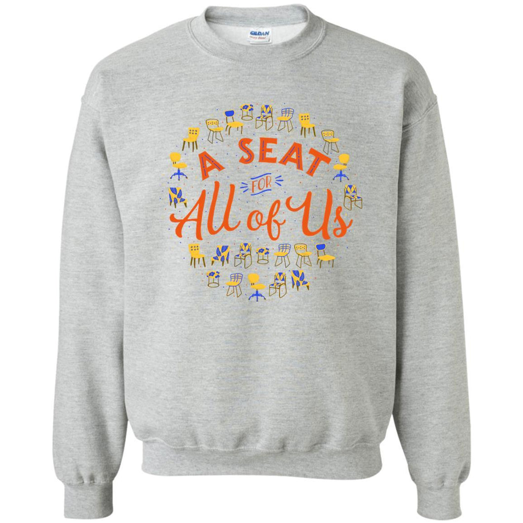 A Seat For All Of Us Classic Fit Crewneck Sweatshirt in Sport Grey from AllGo's merch store featuring plus size statement apparel and more