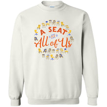 Load image into Gallery viewer, A Seat For All Of Us Classic Fit Crewneck Sweatshirt in White from AllGo's merch store featuring plus size statement apparel and more