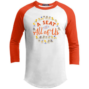 A Seat For All Of Us Classic Fit Raglan 3/4 Sleeve T-Shirt in White/Deep Orange from AllGo's merch store featuring plus size statement apparel and more