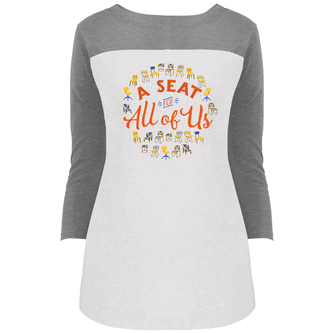 A Seat For All Of Us Fitted Colorblock 3/4 Sleeve Long Length T-Shirt in Grey Frost/White from AllGo's merch store featuring plus size statement apparel and more