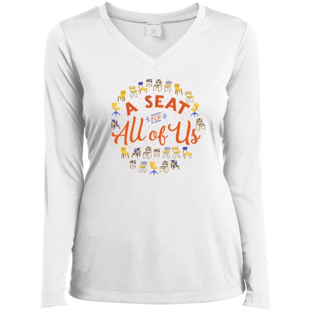 A Seat For All Of Us Fitted Long Sleeve T-Shirt in White from AllGo's merch store featuring plus size statement apparel and more