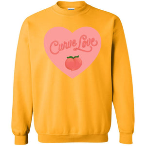 Curve Love Classic Fit Crewneck Sweatshirt in Gold from AllGo's merch store featuring plus size statement apparel and more