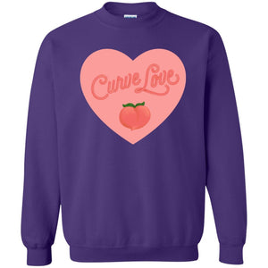 Curve Love Classic Fit Crewneck Sweatshirt in Purple from AllGo's merch store featuring plus size statement apparel and more