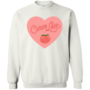 Curve Love Classic Fit Crewneck Sweatshirt in White from AllGo's merch store featuring plus size statement apparel and more