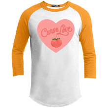 Load image into Gallery viewer, Curve Love Classic Fit Raglan 3/4 Sleeve T-Shirt-T-Shirts-White/Gold-XS-AllGo
