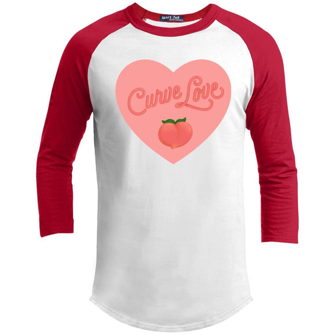 Curve Love Classic Fit Raglan 3/4 Sleeve T-Shirt in White/Red from AllGo's merch store featuring plus size statement apparel and more
