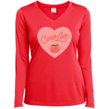 Load image into Gallery viewer, Curve Love Fitted Long Sleeve T-Shirt in Hot Coral from AllGo's merch store featuring plus size statement apparel and more