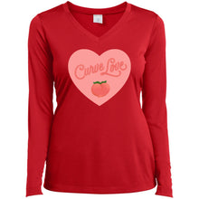 Load image into Gallery viewer, Curve Love Fitted Long Sleeve T-Shirt in True Red from AllGo's merch store featuring plus size statement apparel and more