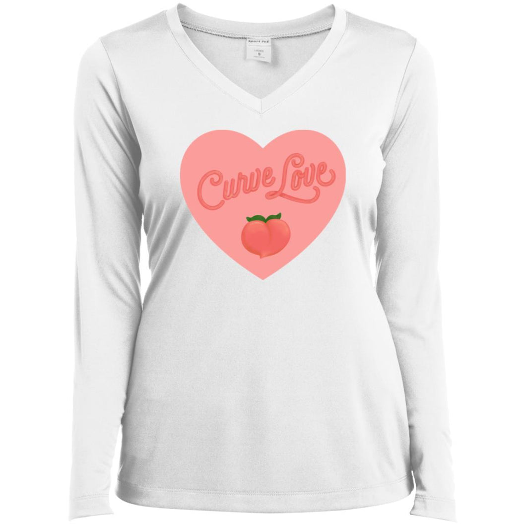 Curve Love Fitted Long Sleeve T-Shirt in White from AllGo's merch store featuring plus size statement apparel and more