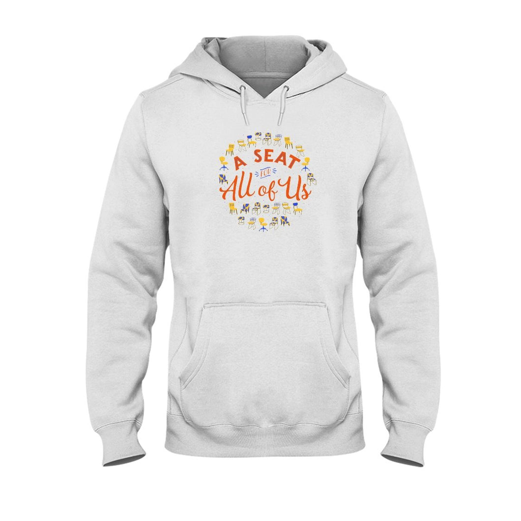A Seat for All of Us Classic Fit Pullover Hooded Sweatshirt-Sweatshirts-White-S-AllGo
