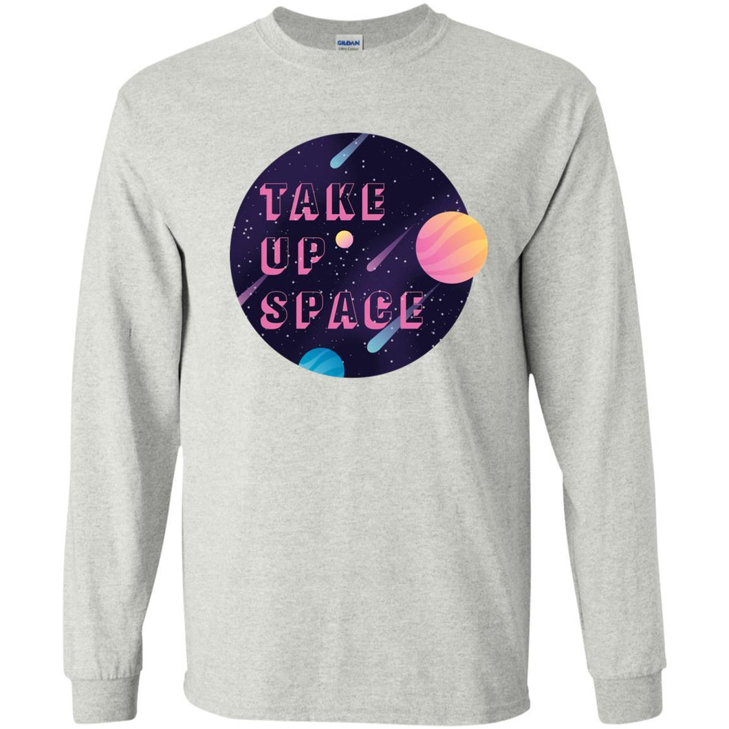 Take Up Space Classic Fit Long Sleeve Cotton T-Shirt in Ash from AllGo's merch store featuring plus size statement apparel and more