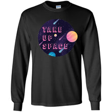 Load image into Gallery viewer, Take Up Space Classic Fit Long Sleeve Cotton T-Shirt in Black from AllGo's merch store featuring plus size statement apparel and more