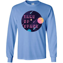 Load image into Gallery viewer, Take Up Space Classic Fit Long Sleeve Cotton T-Shirt in Carolina Blue from AllGo's merch store featuring plus size statement apparel and more
