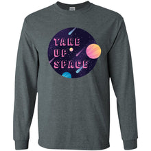 Load image into Gallery viewer, Take Up Space Classic Fit Long Sleeve Cotton T-Shirt in Dark Heather from AllGo's merch store featuring plus size statement apparel and more