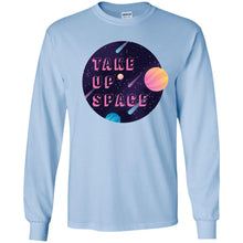 Load image into Gallery viewer, Take Up Space Classic Fit Long Sleeve Cotton T-Shirt in Light Blue from AllGo's merch store featuring plus size statement apparel and more