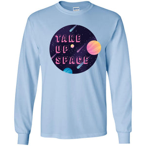 Take Up Space Classic Fit Long Sleeve Cotton T-Shirt in Light Blue from AllGo's merch store featuring plus size statement apparel and more