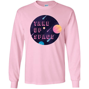 Take Up Space Classic Fit Long Sleeve Cotton T-Shirt in Light Pink from AllGo's merch store featuring plus size statement apparel and more