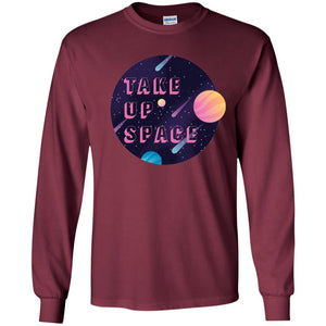 Take Up Space Classic Fit Long Sleeve Cotton T-Shirt in Maroon from AllGo's merch store featuring plus size statement apparel and more