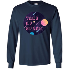 Load image into Gallery viewer, Take Up Space Classic Fit Long Sleeve Cotton T-Shirt in Navy from AllGo's merch store featuring plus size statement apparel and more