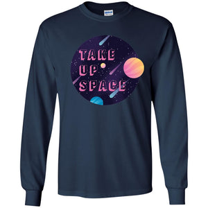 Take Up Space Classic Fit Long Sleeve Cotton T-Shirt in Navy from AllGo's merch store featuring plus size statement apparel and more