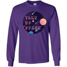 Load image into Gallery viewer, Take Up Space Classic Fit Long Sleeve Cotton T-Shirt in Purple from AllGo's merch store featuring plus size statement apparel and more