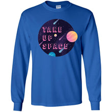 Load image into Gallery viewer, Take Up Space Classic Fit Long Sleeve Cotton T-Shirt in Royal from AllGo's merch store featuring plus size statement apparel and more