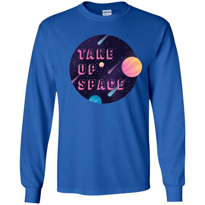 Take Up Space Classic Fit Long Sleeve Cotton T-Shirt in Royal from AllGo's merch store featuring plus size statement apparel and more
